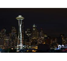 Seattle Skyline After Dark Photographic Print