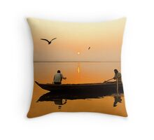 The Holy Ganga and the Morning Time. Throw Pillow