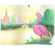 A Flamingo Onlooker, and a Balloon in the Distance Poster
