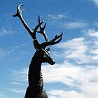 Male deer statue in Farmington by agenttomcat