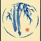 &quot;enso blu&quot;  Original enso sumi-e ink brush pen wash painting by Rebecca Rees