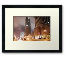 Intercontinental in Warsaw by night Framed Print
