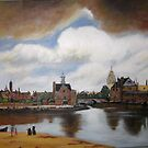 Thunder Over Delft  By Johannes Vermeer by Jsimone