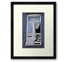 Blue Brick Window Framed Print
