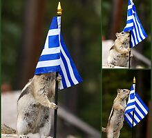 Chippy With The Flag of Greece by Betsy  Seeton