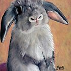 Gus - 9&quot; x 12&quot; Prismacolor on Stonehenge. Female Mini Lop Rabbit. by Laura Bell