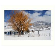 Outstanding in Orange - Snow Scene Art Print