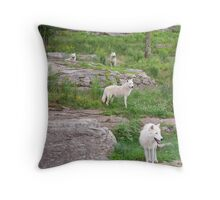 Arctic wolves Throw Pillow
