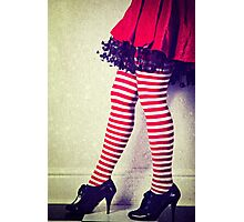 Red stripy socks Photographic Print