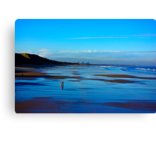 Strolling on the Beach - Saltburn Canvas Print