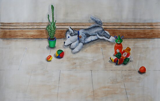 Toys on Floor by Geraldine M Leahy