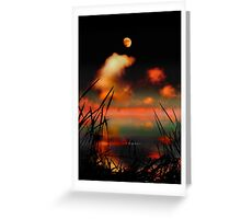 Pointing at the Moon - a moonlit lake fantasy landscape Greeting Card