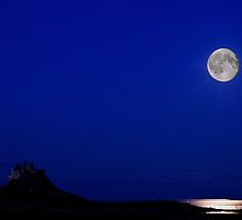 Holy Island Castle in Moonlight by Nigel Bangert