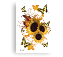 SunFlowers and Butterflies Canvas Print