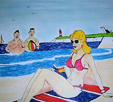 Saucy Seaside postcard  by GEORGE SANDERSON