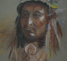 Crazy Thunder-American Indian Chief by Pauline Marlo-Monten