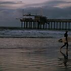 Surfer at Twilight - San Diego Beach by redashton
