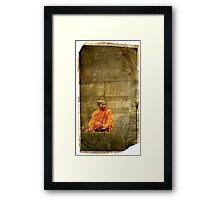 Monk at Angkor Wat Cambodia Framed Print