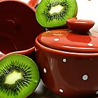 Kiwi Poka-Dot Tea Set by royxnavy