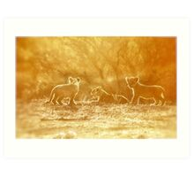 "THE ""THREE"" LITTLE LION CUBS, a Last light capture - THE LION – Panthera leo Art Print"