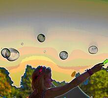Girls streaming bubbles  by Robyn Bohlen