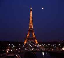 Full moon and the Eiffel Tower by Wendy Giles