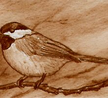 Chickadee in Sepia by Brenda Scott