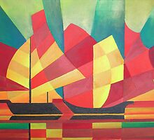 Cubist Abstract of Junk Sails and Ocean Skies by taiche