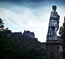 Edinburgh Castle and Allan Ramsay's Statue. by Aj Finan