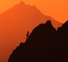 Climber and Mt. Jefferson sunset #2 by imager1