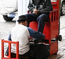 Shoe Shine in Panama Hat, Cuenca, Ecuador by Jane McDougall