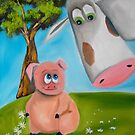 PIG COW daisy chain folk painting by gordonbruce