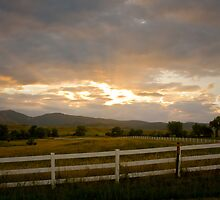 Country White Fence Sunset by Bo Insogna