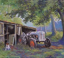 Pickles and the tractor by Alan  Castleton