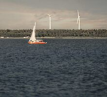 Windmills & Sailboat by Antanas