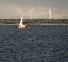 Windmills & Sailboat by Antanas