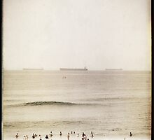 Swimmers and Tankers off Newcastle Beach by Ben Walker