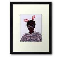 Rose with bunny ears Framed Print