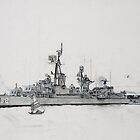 DDR 838 Liberty Call 1965 Moored Hong Kong  First Draw by David M Scott