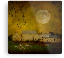 sheep under a harvest moon Metal Print