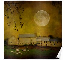 sheep under a harvest moon Poster