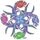 Fractal Flower Bouquet Star - pinwheel on white by Gary Timothy