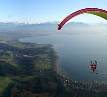 panorama powered paragliding chiemsee lake chiemgau from air by parafux