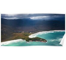 Aerial view of Point Eric, Cox Bight, South Coast Track, Tasmania Poster