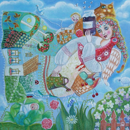 Mom - folk art painting by Lana Wynne