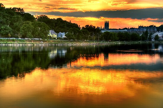 Sunset over Boston College by LudaNayvelt