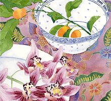 still life with orchids and kumquats  - larger by Gabby Malpas