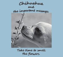 Chihuahua and the Important Message--Take Time to Smell the Flower T-Shirt Kids Clothes