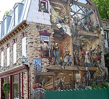 Quebec's history on an architectural mural by Gaetan