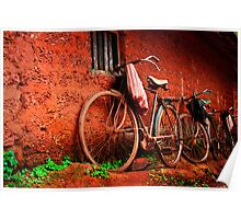 resting bicycles Poster